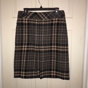 Ann Taylor Women's Wool Black & Tan Skirt Sz 8